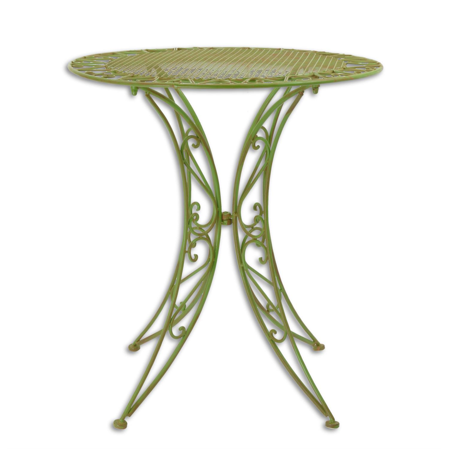A GREEN IRON GARDEN TABLE