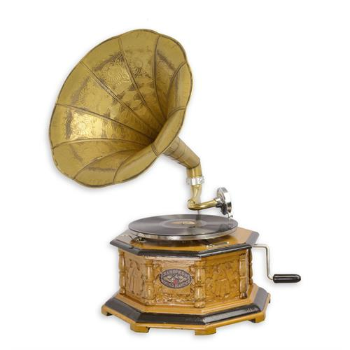 A CARVED OCTAGONAL GRAMAPHONE